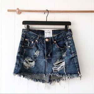 One Teaspoon NEW Distressed Frayed Junkyard Skirt